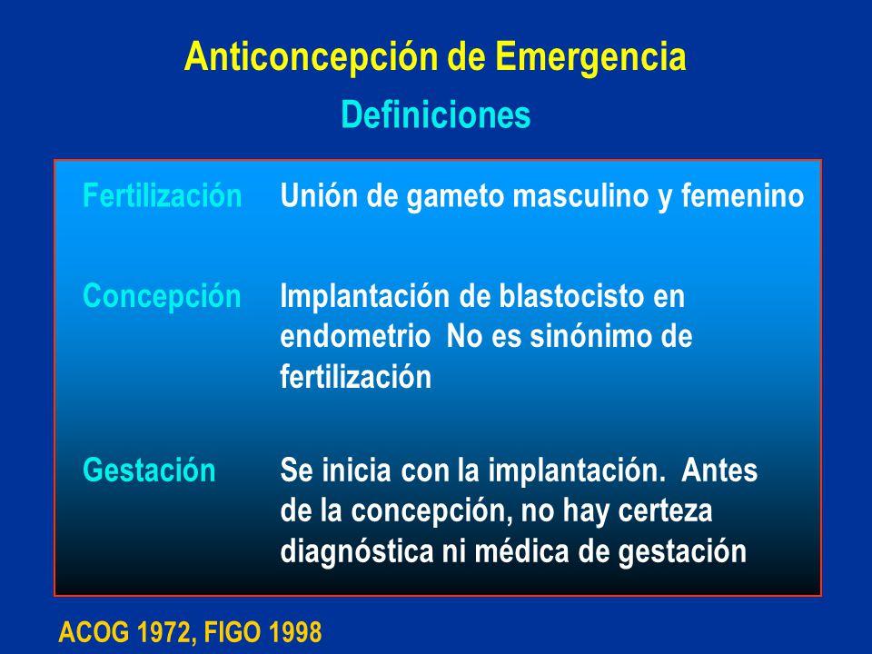 Definiciones FertilizaciónUnión de gameto masculino y femenino ConcepciónImplantación de blastocisto en endometrio No es sinónimo de fertilización Ges