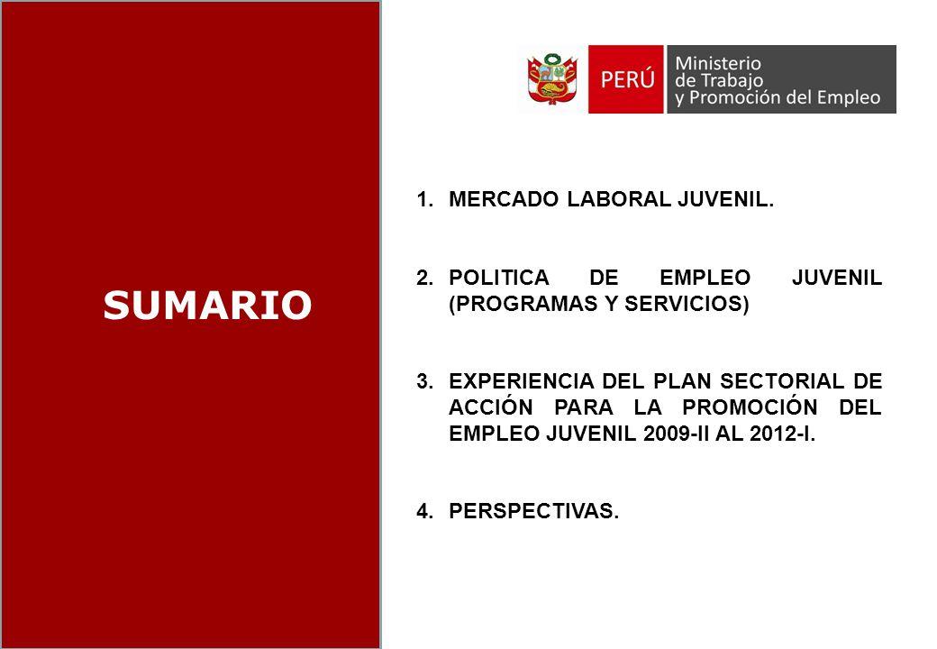 INDICE SUMARIO 1.MERCADO LABORAL JUVENIL. 2.POLITICA DE EMPLEO JUVENIL (PROGRAMAS Y SERVICIOS) 3.EXPERIENCIA DEL PLAN SECTORIAL DE ACCIÓN PARA LA PROM