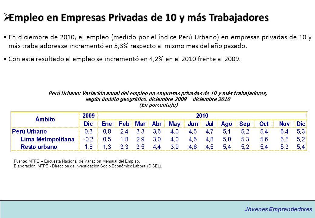 Jóvenes Emprendedores Empleo en Empresas Privadas de 10 y más Trabajadores Empleo en Empresas Privadas de 10 y más Trabajadores En diciembre de 2010,