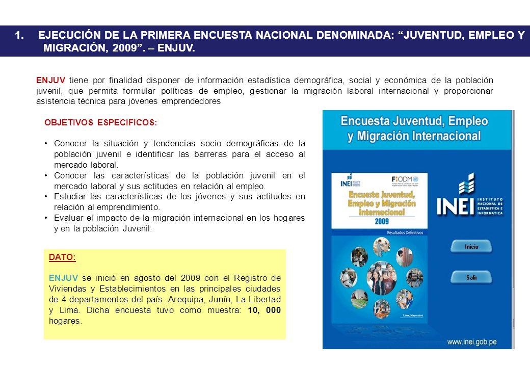 1. EJECUCIÓN DE LA PRIMERA ENCUESTA NACIONAL DENOMINADA: JUVENTUD, EMPLEO Y MIGRACIÓN, 2009. – ENJUV. DATO: ENJUV se inició en agosto del 2009 con el