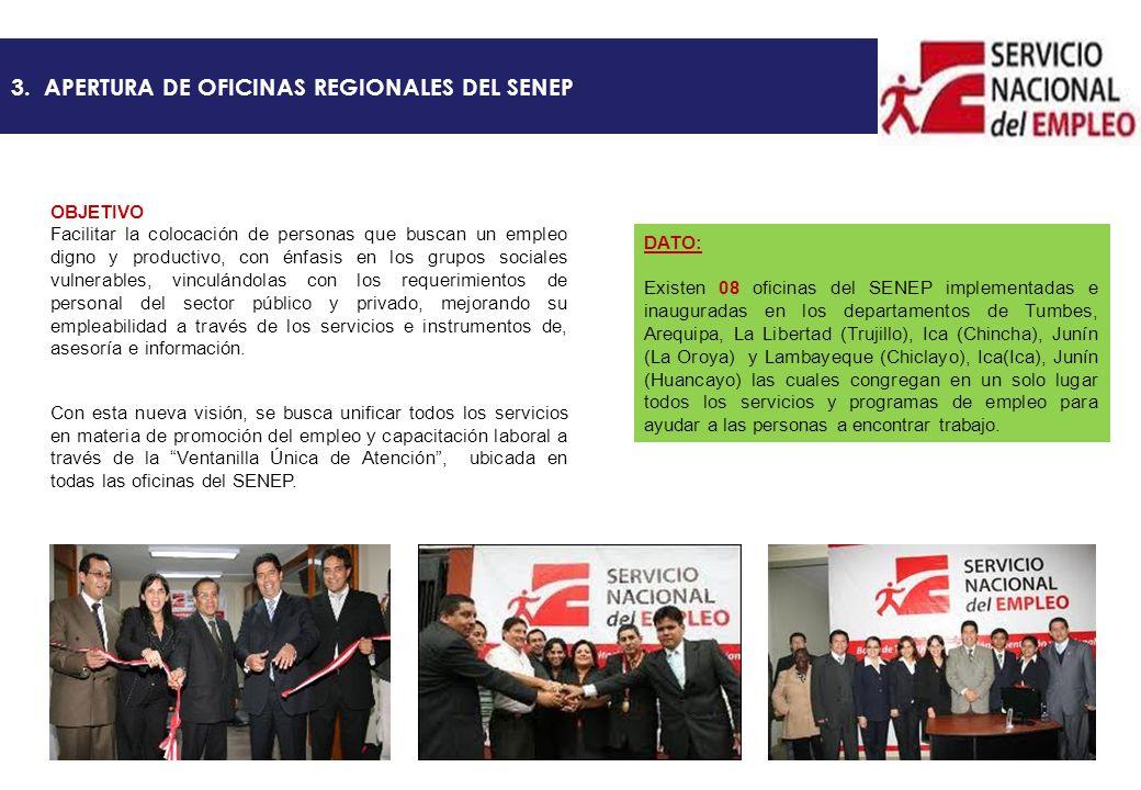 3. APERTURA DE OFICINAS REGIONALES DEL SENEP OBJETIVO Facilitar la colocación de personas que buscan un empleo digno y productivo, con énfasis en los