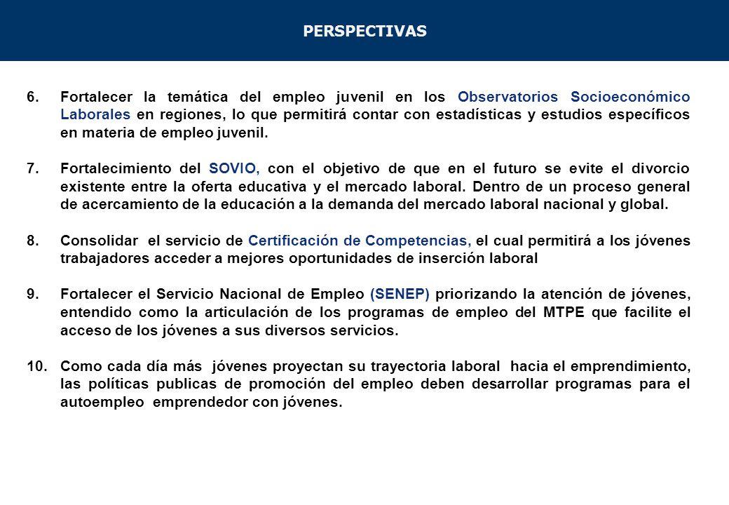 6.Fortalecer la temática del empleo juvenil en los Observatorios Socioeconómico Laborales en regiones, lo que permitirá contar con estadísticas y estu