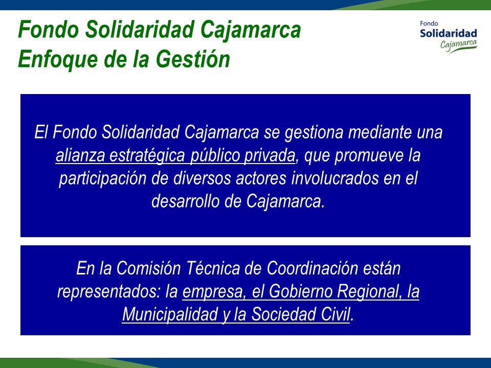 Fondo Solidaridad Cajamarca Enfoque de la Gestión El Fondo Solidaridad Cajamarca se gestiona mediante una alianza estratégica público privada, que promueve la participación de diversos actores involucrados en el desarrollo de Cajamarca.