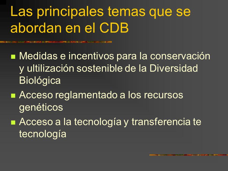 Las principales temas que se abordan en el CDB Medidas e incentivos para la conservación y ultilización sostenible de la Diversidad Biológica Acceso r