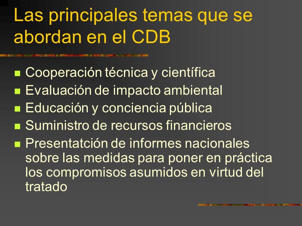 Las principales temas que se abordan en el CDB Cooperación técnica y científica Evaluación de impacto ambiental Educación y conciencia pública Suminis