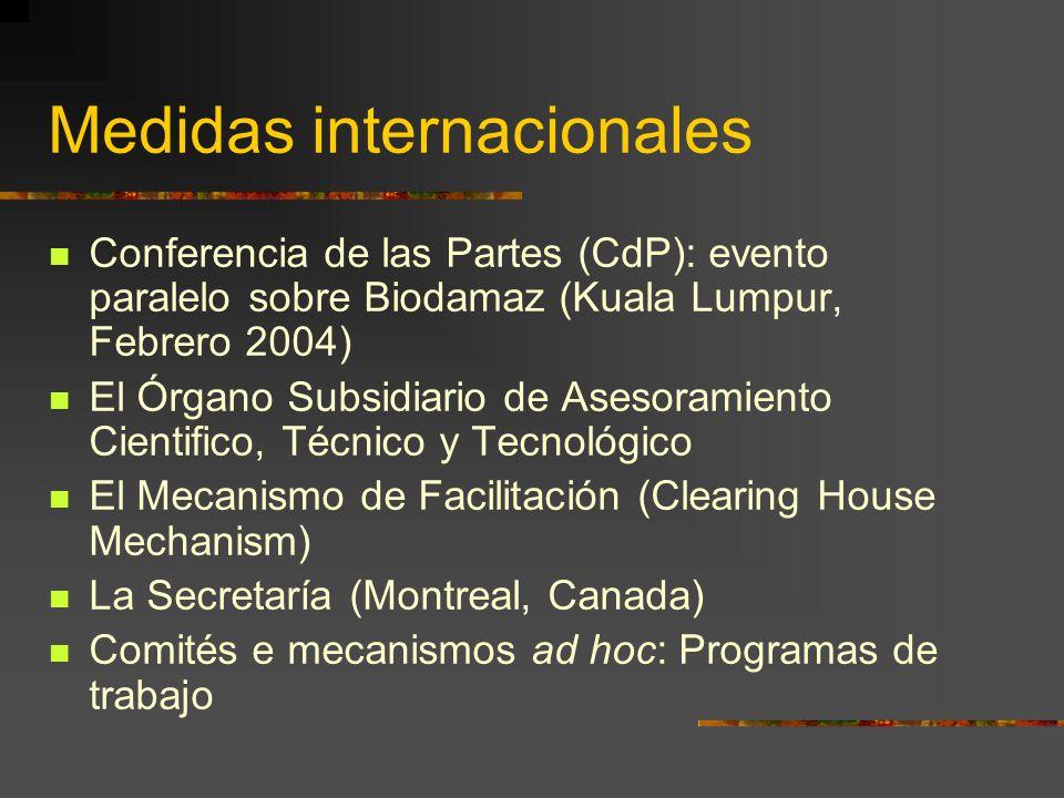 Medidas internacionales Conferencia de las Partes (CdP): evento paralelo sobre Biodamaz (Kuala Lumpur, Febrero 2004) El Órgano Subsidiario de Asesoram