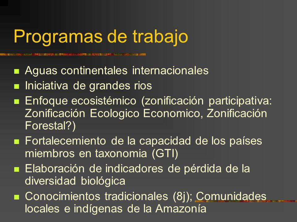 Programas de trabajo Aguas continentales internacionales Iniciativa de grandes rios Enfoque ecosistémico (zonificación participativa: Zonificación Eco