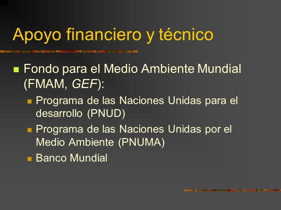 Apoyo financiero y técnico Fondo para el Medio Ambiente Mundial (FMAM, GEF): Programa de las Naciones Unidas para el desarrollo (PNUD) Programa de las