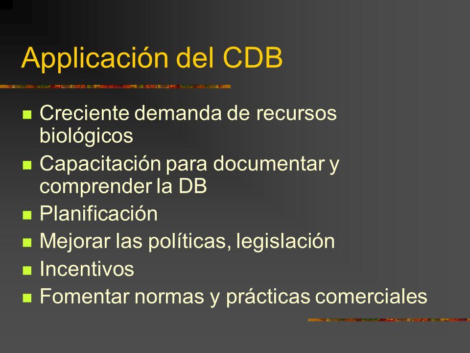 Applicación del CDB Creciente demanda de recursos biológicos Capacitación para documentar y comprender la DB Planificación Mejorar las políticas, legi