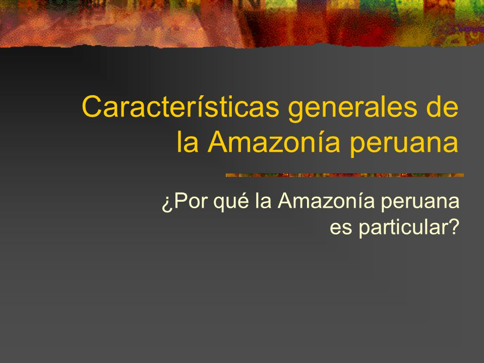 Características generales de la Amazonía peruana ¿Por qué la Amazonía peruana es particular?