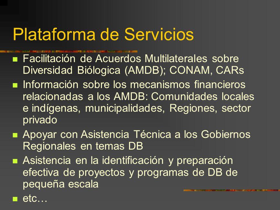 Facilitación de Acuerdos Multilaterales sobre Diversidad Biólogica (AMDB); CONAM, CARs Información sobre los mecanismos financieros relacionadas a los