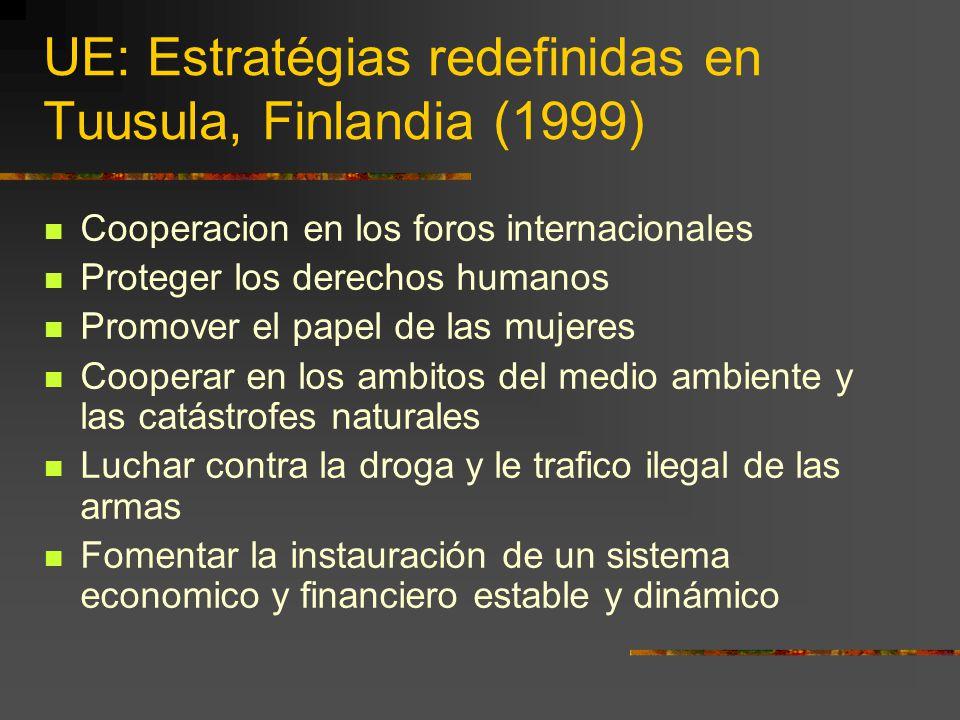 UE: Estratégias redefinidas en Tuusula, Finlandia (1999) Cooperacion en los foros internacionales Proteger los derechos humanos Promover el papel de l