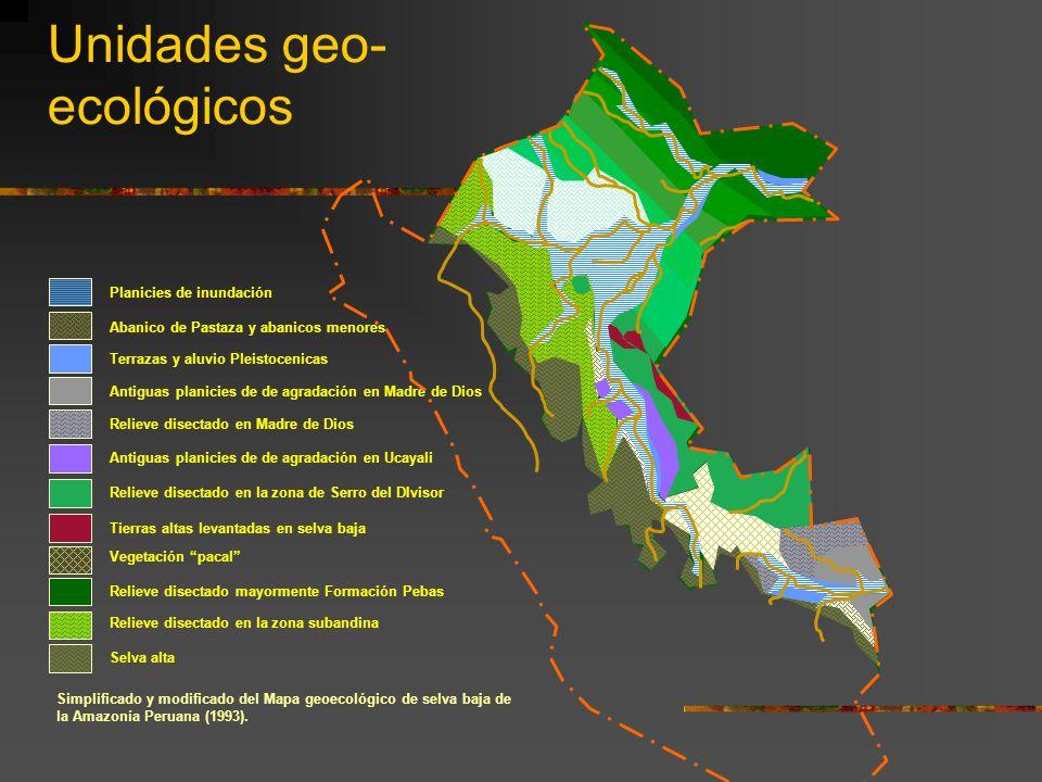 Unidades geo- ecológicos Simplificado y modificado del Mapa geoecológico de selva baja de la Amazonía Peruana (1993). Antiguas planicies de de agradac