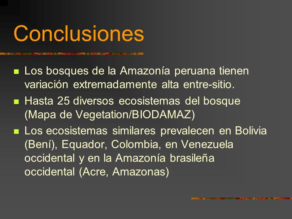 Conclusiones Los bosques de la Amazonía peruana tienen variación extremadamente alta entre-sitio. Hasta 25 diversos ecosistemas del bosque (Mapa de Ve