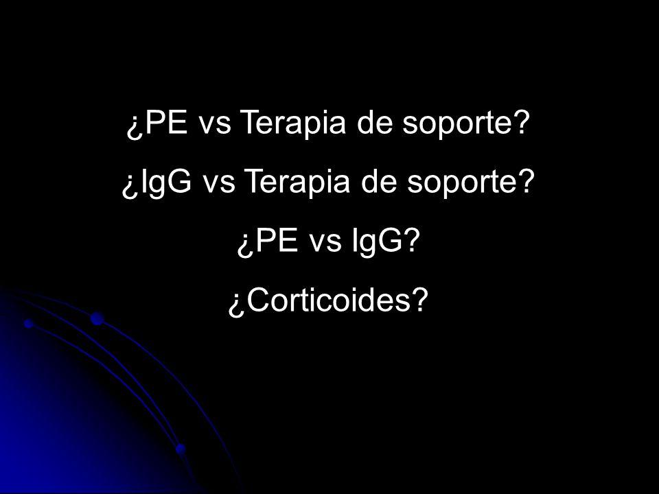 ¿PE vs Terapia de soporte? ¿IgG vs Terapia de soporte? ¿PE vs IgG? ¿Corticoides?