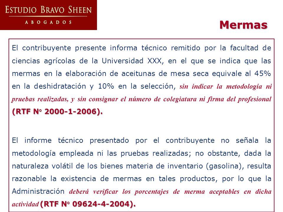 (RTF N° 2000-1-2006). El contribuyente presente informa técnico remitido por la facultad de ciencias agrícolas de la Universidad XXX, en el que se ind