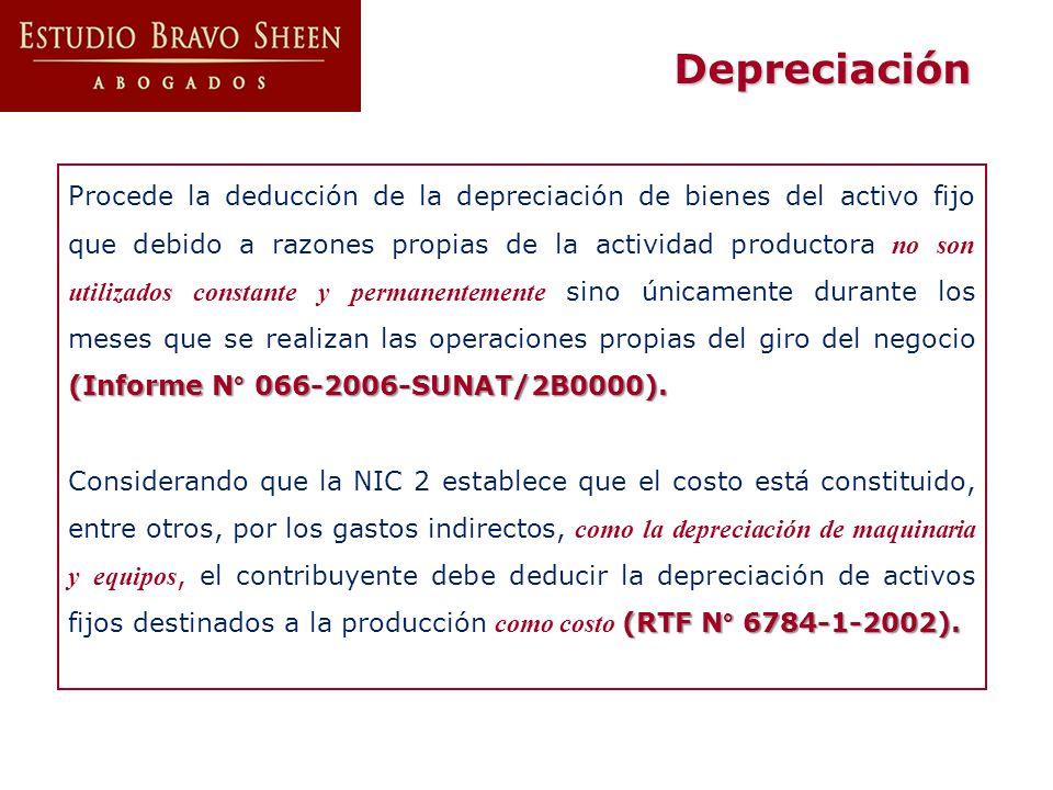 Depreciación (Informe N° 066-2006-SUNAT/2B0000). Procede la deducción de la depreciación de bienes del activo fijo que debido a razones propias de la
