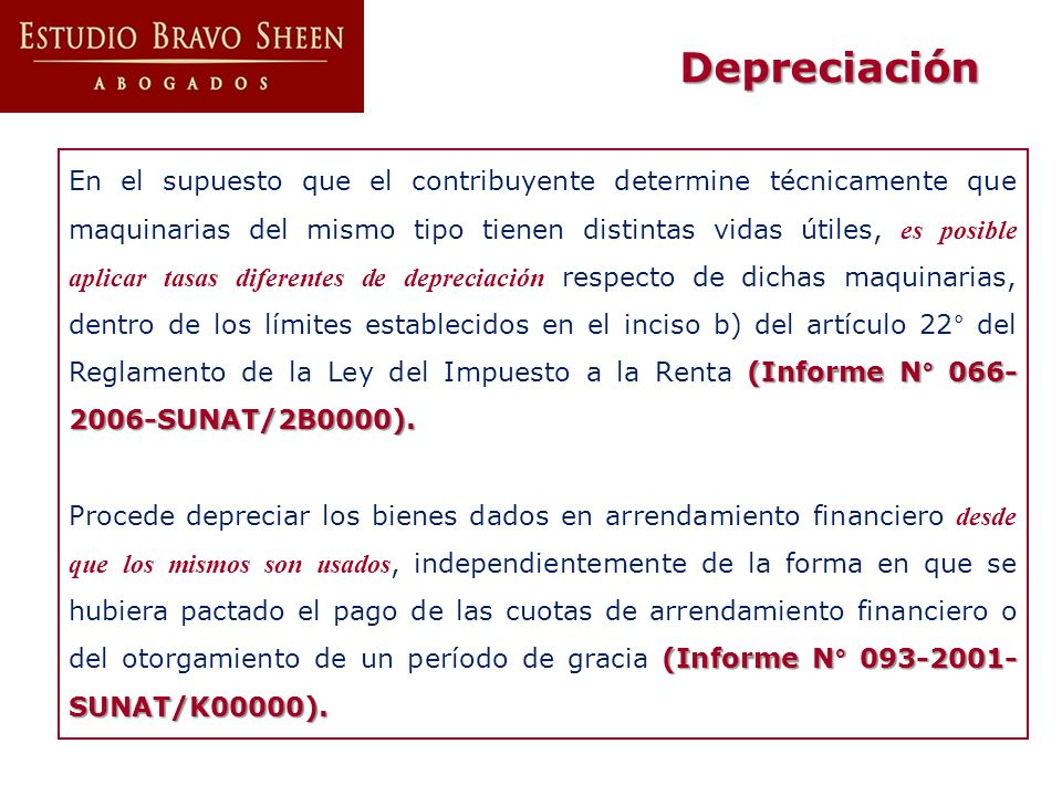 (Informe N° 066- 2006-SUNAT/2B0000). En el supuesto que el contribuyente determine técnicamente que maquinarias del mismo tipo tienen distintas vidas