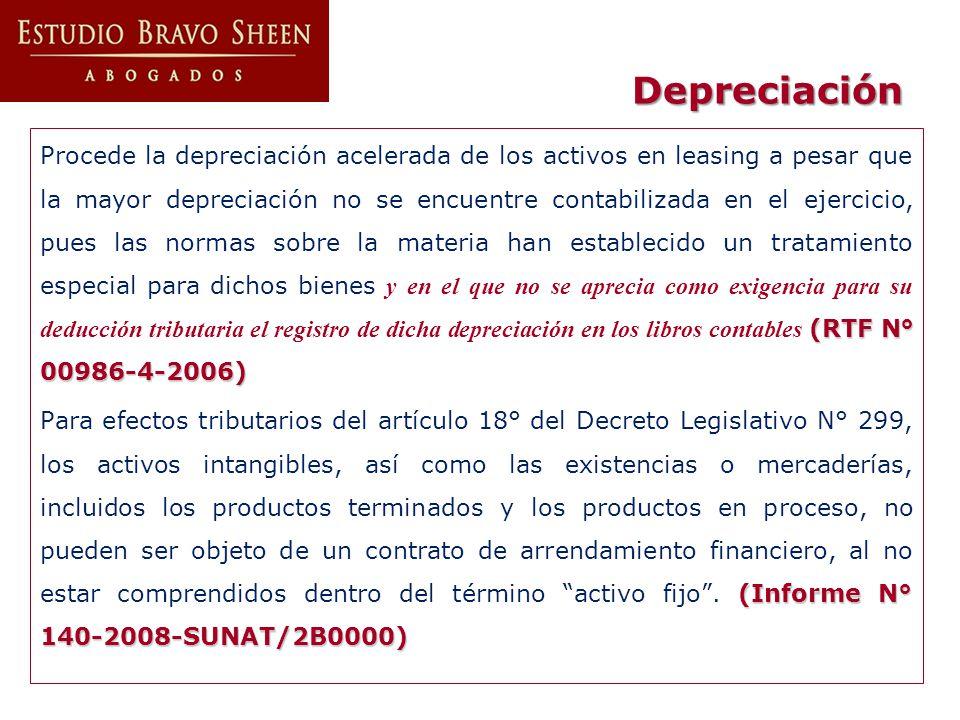 Depreciación (RTF N° 00986-4-2006) Procede la depreciación acelerada de los activos en leasing a pesar que la mayor depreciación no se encuentre conta