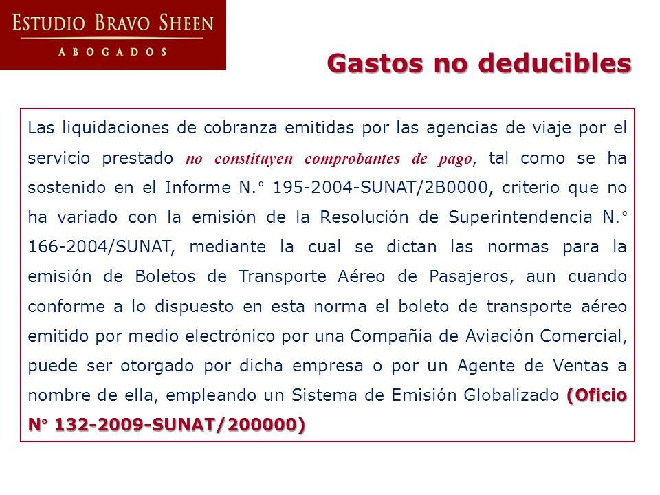 (Oficio N° 132-2009-SUNAT/200000) Las liquidaciones de cobranza emitidas por las agencias de viaje por el servicio prestado no constituyen comprobante