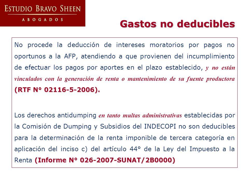(RTF N° 02116-5-2006). No procede la deducción de intereses moratorios por pagos no oportunos a la AFP, atendiendo a que provienen del incumplimiento