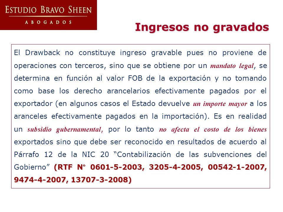 Ingresos no gravados (RTF N° 0601-5-2003, 3205-4-2005, 00542-1-2007, 9474-4-2007, 13707-3-2008) El Drawback no constituye ingreso gravable pues no pro