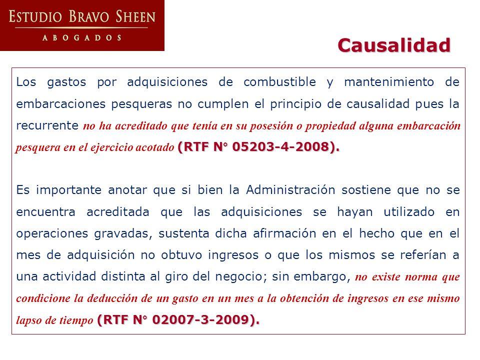 Causalidad (RTF N° 05203-4-2008). Los gastos por adquisiciones de combustible y mantenimiento de embarcaciones pesqueras no cumplen el principio de ca