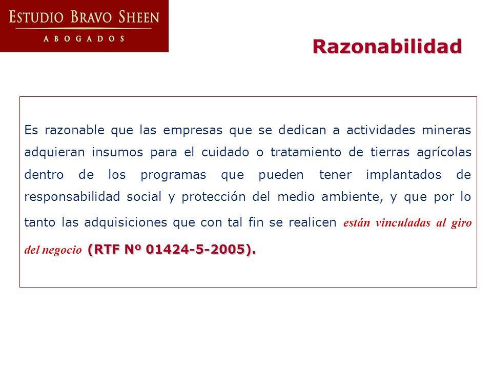 (RTF Nº 01424-5-2005). Es razonable que las empresas que se dedican a actividades mineras adquieran insumos para el cuidado o tratamiento de tierras a