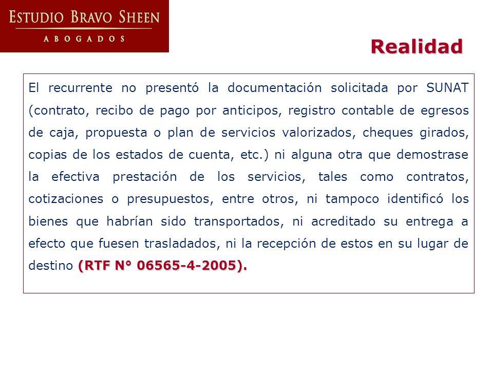 (RTF N° 06565-4-2005). El recurrente no presentó la documentación solicitada por SUNAT (contrato, recibo de pago por anticipos, registro contable de e