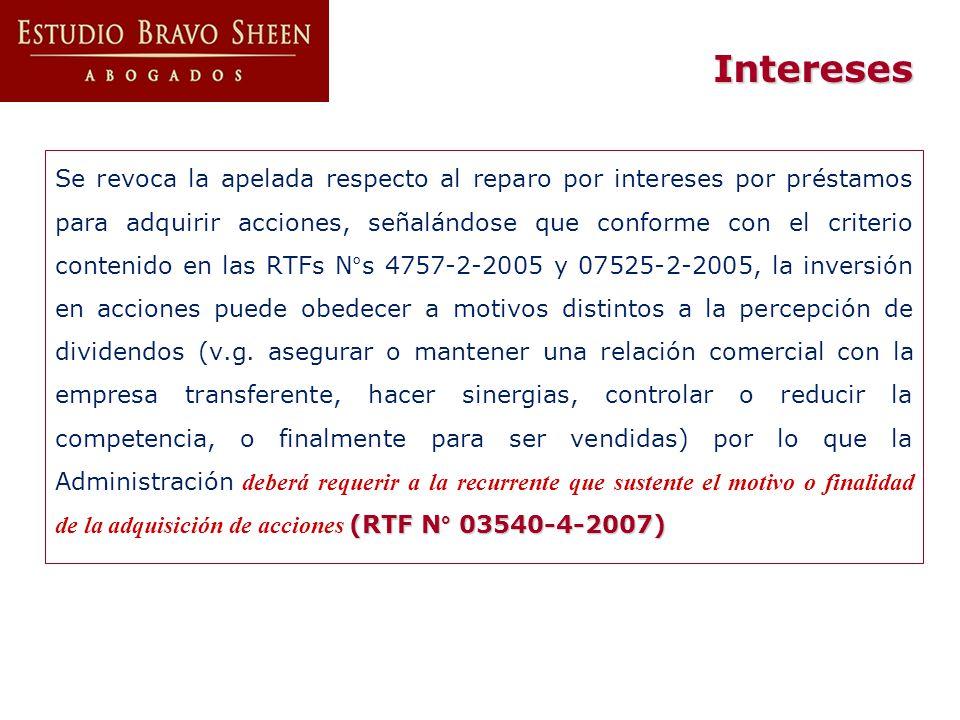 Intereses (RTF N° 03540-4-2007) Se revoca la apelada respecto al reparo por intereses por préstamos para adquirir acciones, señalándose que conforme c