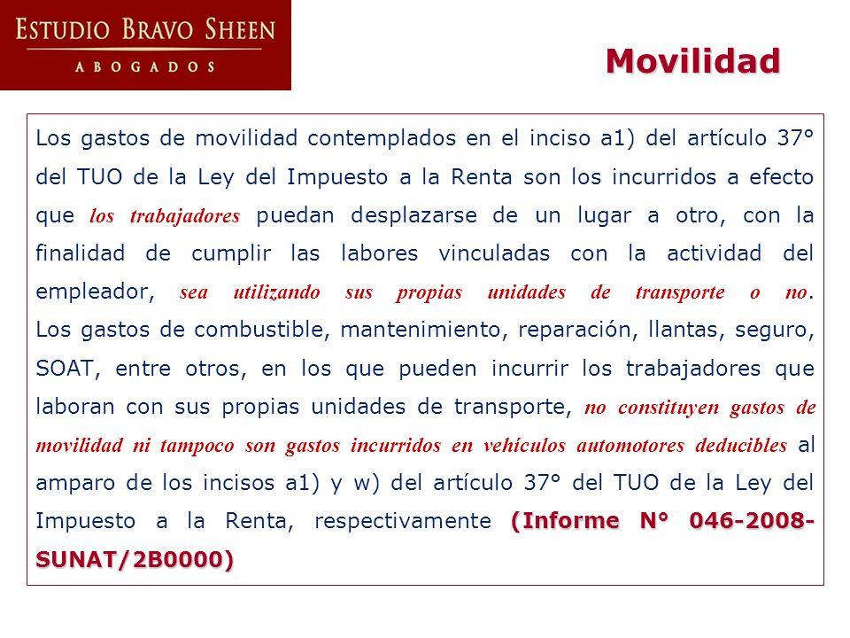 (Informe N° 046-2008- SUNAT/2B0000) Los gastos de movilidad contemplados en el inciso a1) del artículo 37° del TUO de la Ley del Impuesto a la Renta s
