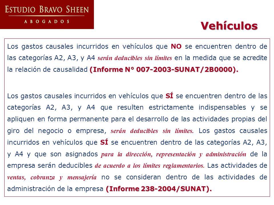 Vehículos (Informe N° 007-2003-SUNAT/2B0000). Los gastos causales incurridos en vehículos que NO se encuentren dentro de las categorías A2, A3, y A4 s