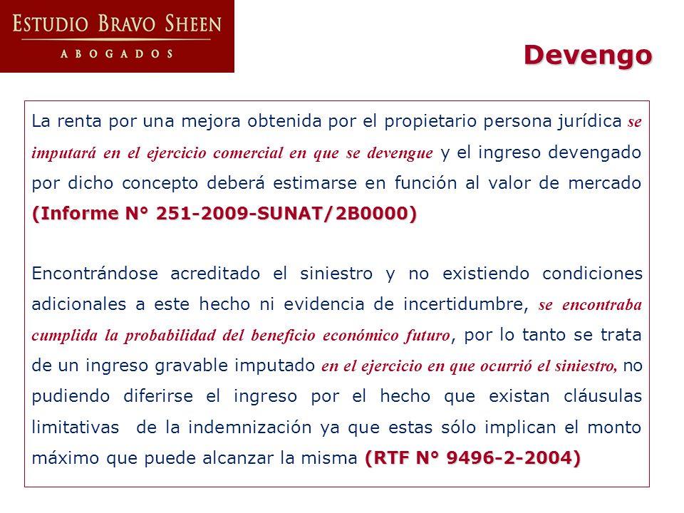 Ingresos por ventas (RTF N° 0604-5-2001) En caso de ventas, el ingreso, de acuerdo con la NIC 18, debe ser reconocido cuando la empresa haya transferido al comprador los riesgos significativos y los beneficios de propiedad de los productos, y no cuando sólo se ha emitido la factura (RTF N° 0604-5-2001) (RTF N° 3495-4-2003) En en el caso de ventas con reserva de dominio, el ingreso se devenga al momento de la transacción, así no haya transferencia del título (RTF N° 3495-4-2003) (RTF Nros.