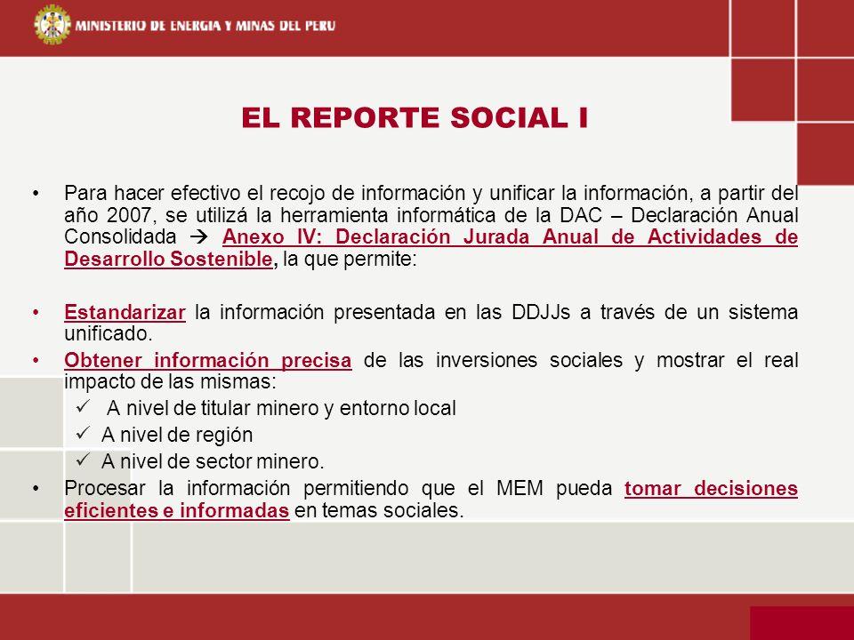 EL REPORTE SOCIAL I Para hacer efectivo el recojo de información y unificar la información, a partir del año 2007, se utilizá la herramienta informáti