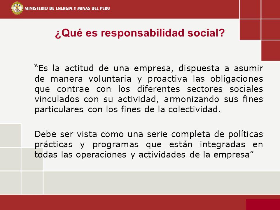 ¿Qué es responsabilidad social? Es la actitud de una empresa, dispuesta a asumir de manera voluntaria y proactiva las obligaciones que contrae con los
