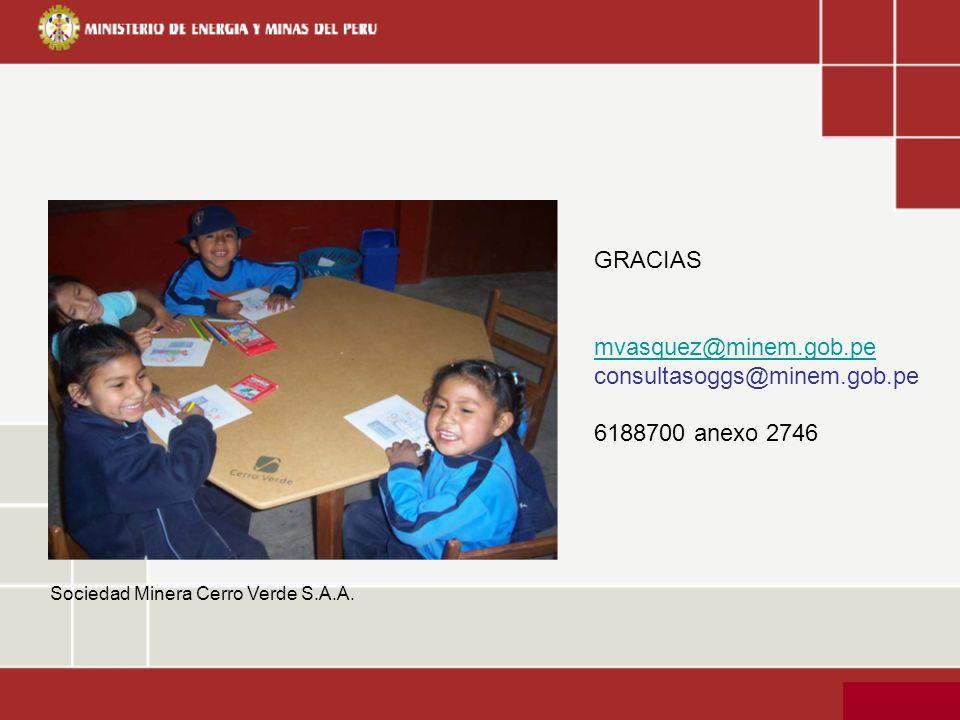 Sociedad Minera Cerro Verde S.A.A. GRACIAS mvasquez@minem.gob.pe consultasoggs@minem.gob.pe 6188700 anexo 2746