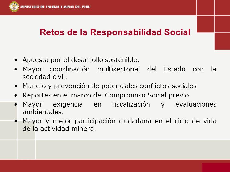 Retos de la Responsabilidad Social Apuesta por el desarrollo sostenible. Mayor coordinación multisectorial del Estado con la sociedad civil. Manejo y