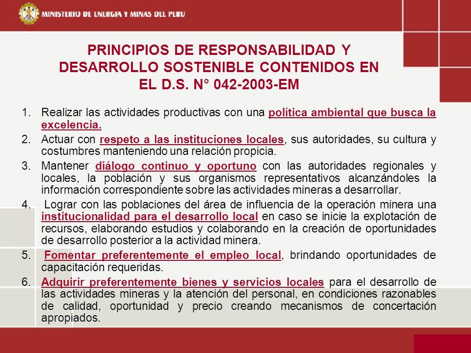 PRINCIPIOS DE RESPONSABILIDAD Y DESARROLLO SOSTENIBLE CONTENIDOS EN EL D.S. N° 042-2003-EM 1.Realizar las actividades productivas con una política amb
