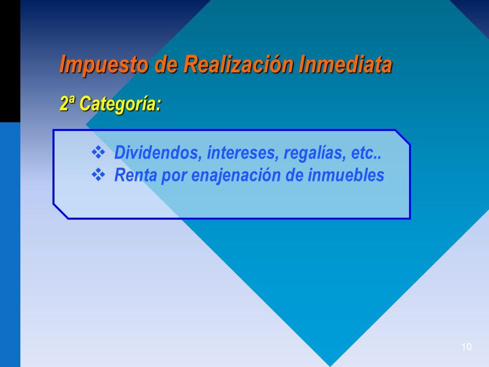 10 Impuesto de Realización Inmediata Dividendos, intereses, regalías, etc..