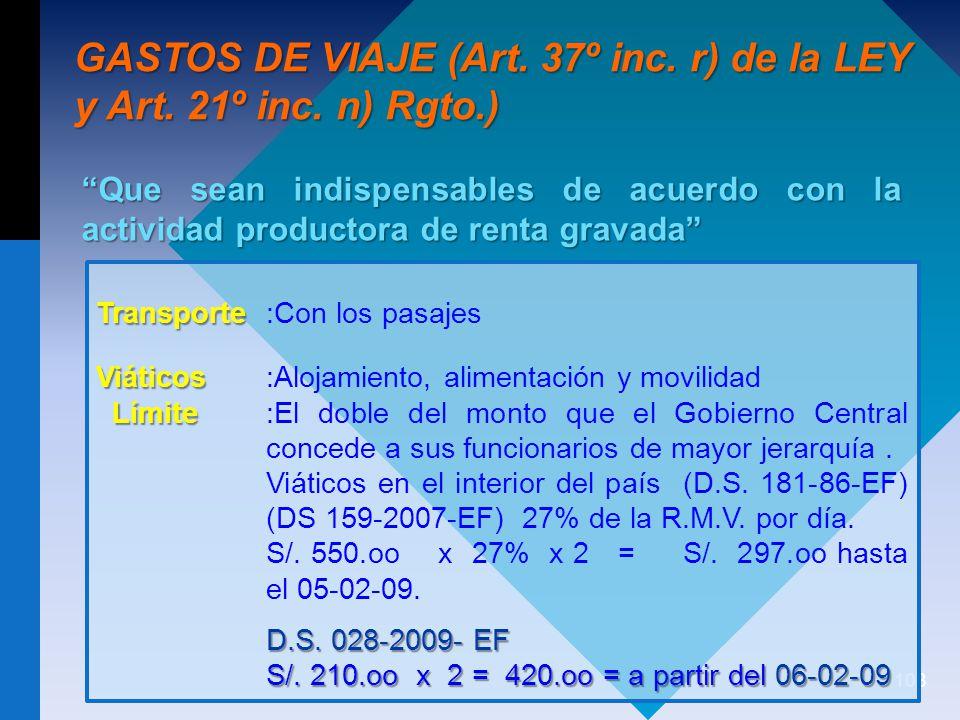 108 GASTOS DE VIAJE (Art.37º inc. r) de la LEY y Art.