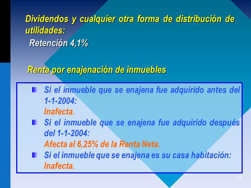11 Dividendos y cualquier otra forma de distribución de utilidades: Si el inmueble que se enajena fue adquirido antes del 1-1-2004: Inafecta.