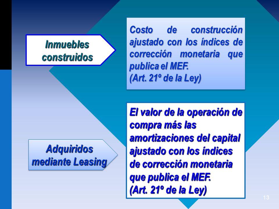 13 El valor de la operación de compra más las amortizaciones del capital ajustado con los índices de corrección monetaria que publica el MEF.