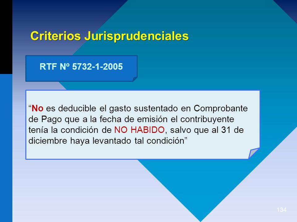134 No es deducible el gasto sustentado en Comprobante de Pago que a la fecha de emisión el contribuyente tenía la condición de NO HABIDO, salvo que al 31 de diciembre haya levantado tal condición Criterios Jurisprudenciales RTF Nº 5732-1-2005