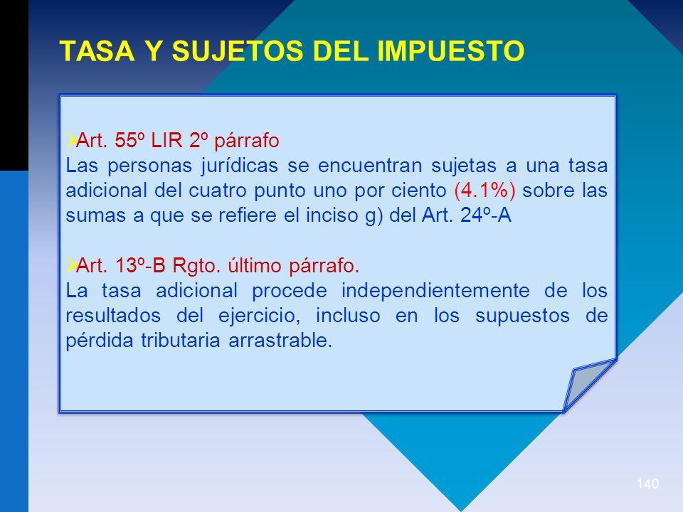 140 TASA Y SUJETOS DEL IMPUESTO Art.