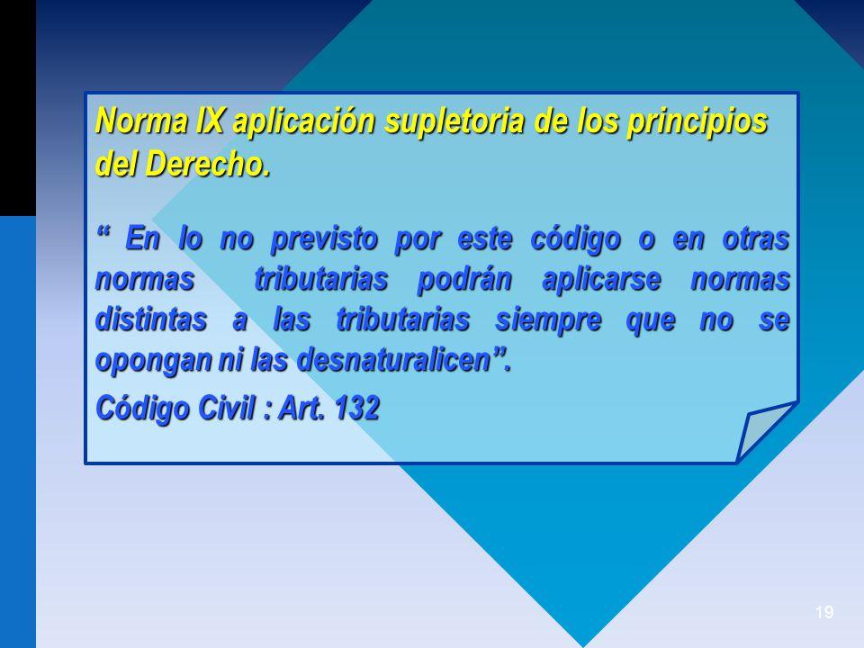 19 Norma IX aplicación supletoria de los principios del Derecho.
