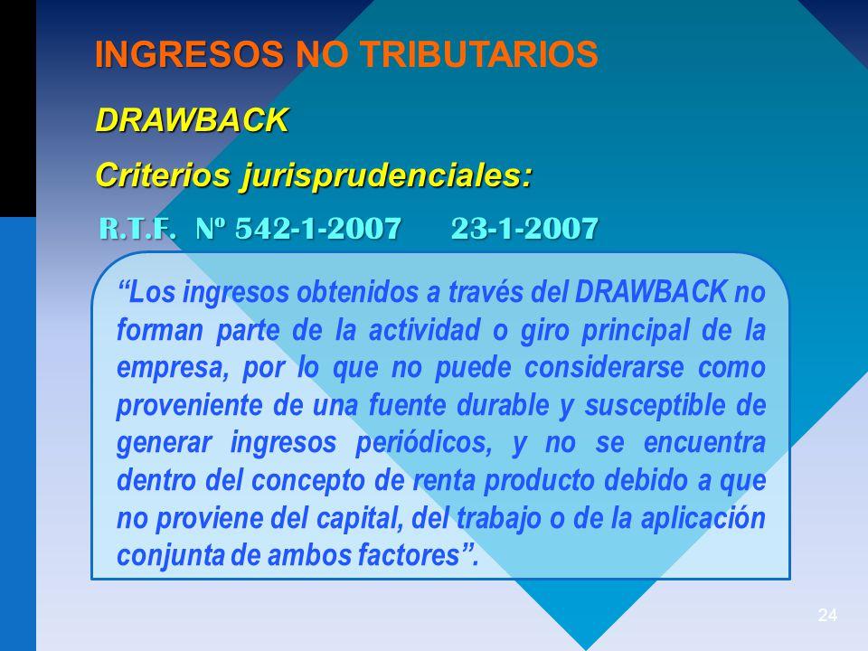 24 INGRESOS INGRESOS NO TRIBUTARIOS DRAWBACK R.T.F.
