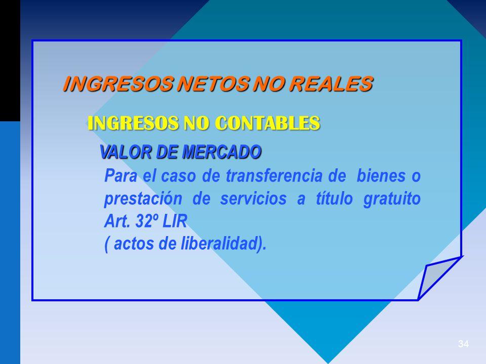 34 INGRESOS NETOS NO REALES INGRESOS NO CONTABLES VALOR DE MERCADO VALOR DE MERCADO Para el caso de transferencia de bienes o prestación de servicios a título gratuito Art.