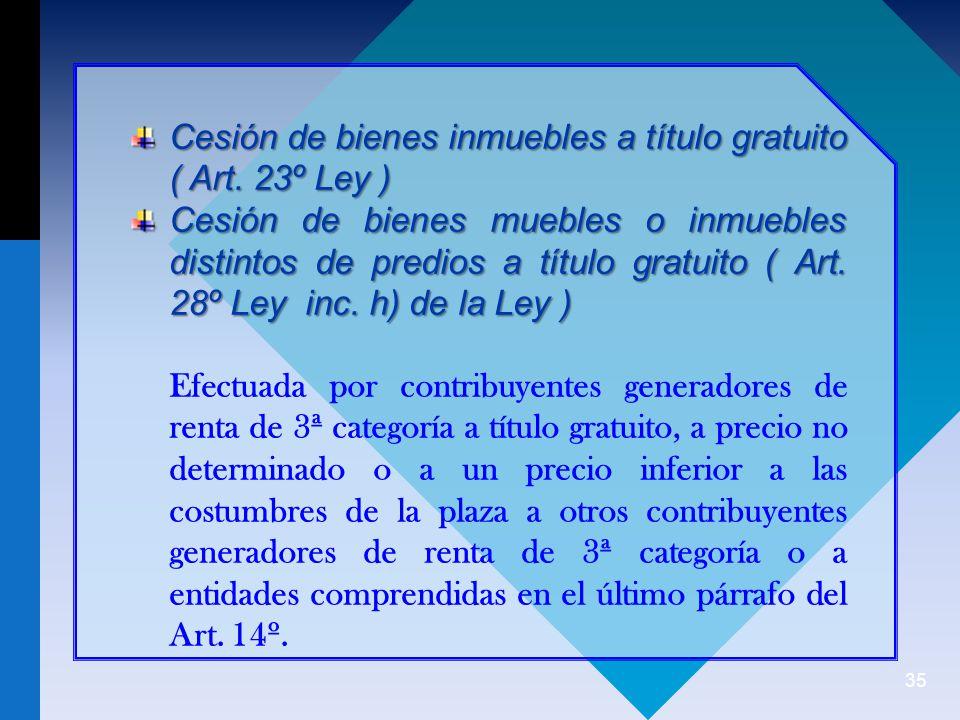 35 Cesión de bienes inmuebles a título gratuito ( Art.