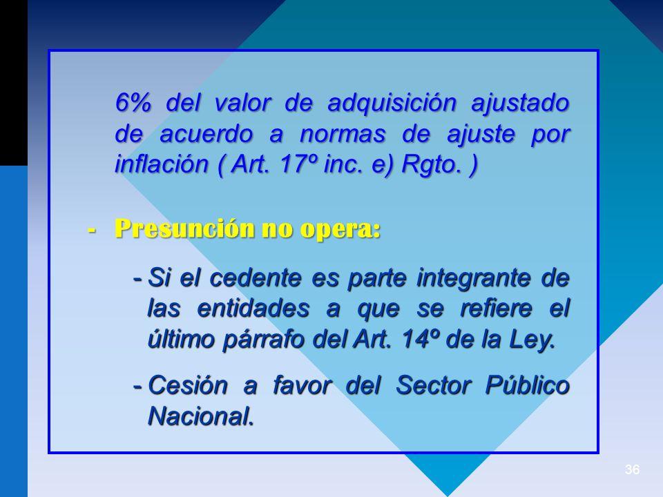 36 6% del valor de adquisición ajustado de acuerdo a normas de ajuste por inflación ( Art.