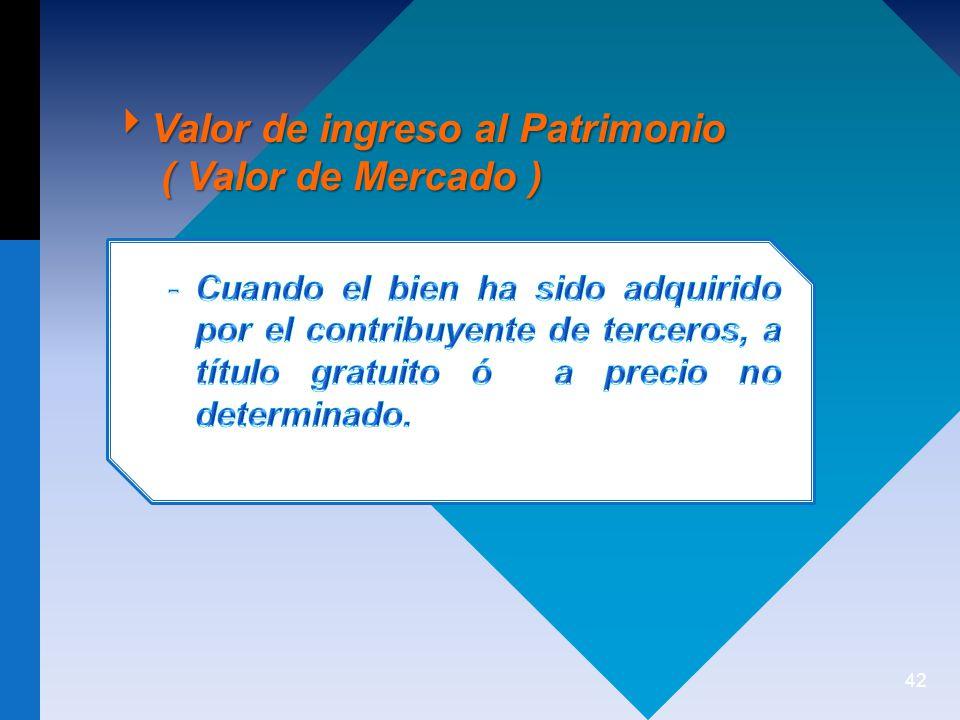 42 Valor de ingreso al Patrimonio Valor de ingreso al Patrimonio ( Valor de Mercado ) ( Valor de Mercado )